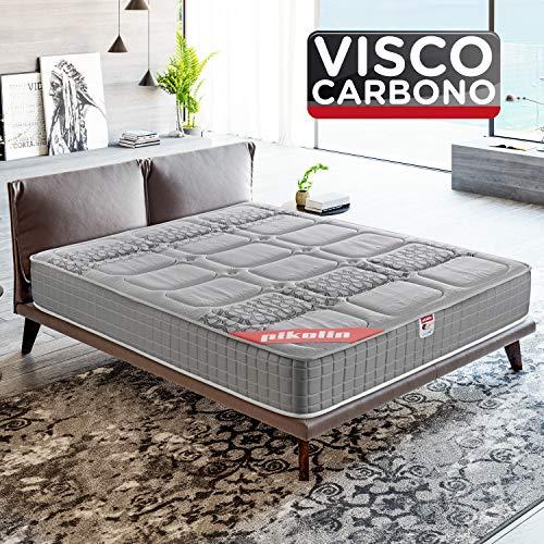 PIKOLIN, Colchón viscoelástico carbono de gama alta, 160x200, máxima calidad y confort, firmeza media, Altura 26 cm. Modelo Troya