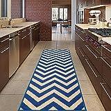 Diagona Designs modernes Chevron Design Rutschfest Küche/Badezimmer/Flur Bereich Teppich Läufer, Beige / Navy, 20