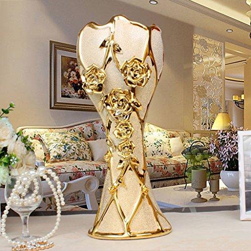 GAOLILI Creative Céramique Vase De Plancher Fleur Home TV Cabinet Salon Simulation Fleur Séchée Vase ( taille : A-41cm )