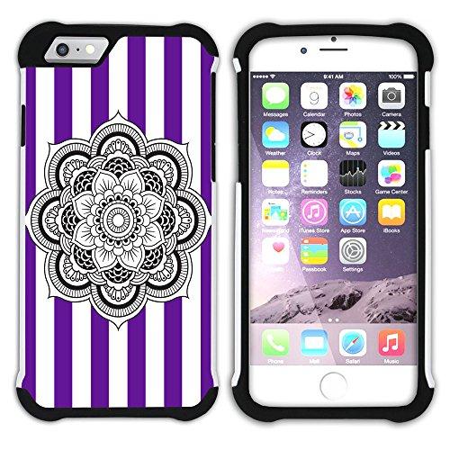 Graphic4You Mandala Blume Streifenmuster (Wasserblau) Hart + Weiche Kratzfeste Hülle Case Schale Tasche Schutzhülle für Apple iPhone 6 / 6S Lila