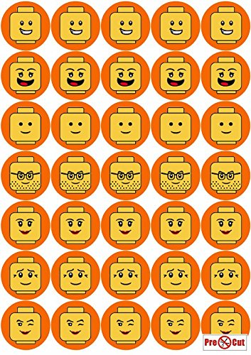 35 x Pre Cut Minifigure Faces Kuchen, Cupcake Topper/Dekoration Essbar Wafer Papier (Für Kuchen Dekoration Essbare)