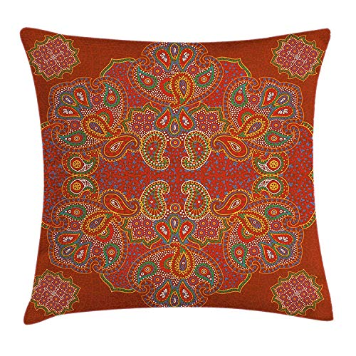 Mandala Throw Pillow Cushion Cover, Moroccan Persian Design Oriental Rectangular Paisley Floral Print, Decorative Square Accent Pillow Case,Burnt Orange Blue and White 20x20inch Floral Print Wedge
