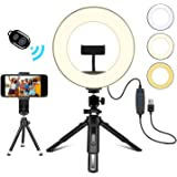 """Creatck 8"""" LED Ring Light with Tripod Stand, Dimmable 3 Light Modes & 10 Brightness Selfie Desk Makeup Light with Cell…"""