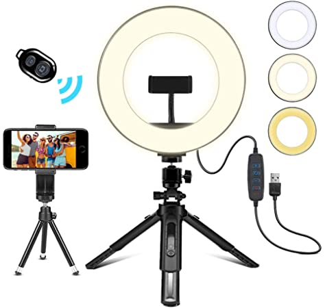 Compatible with Phones and Cameras Dimmable Selfie Halo Light for Photography//Makeup//Vlogging//Live Streaming Funli LED Ring Light with Stand and Phone Holder