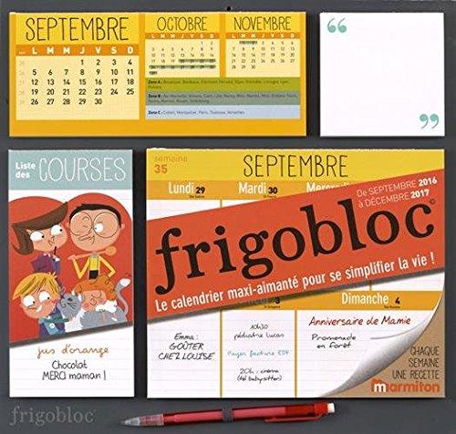 Calendrier d'organisation familiale FrigoBloc 2017 - S'organiser n'a jamais été aussi simple !