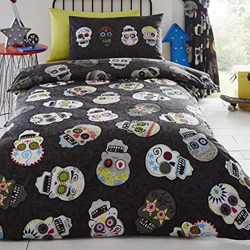 Calaveras de azúcar, edredón reversible y almohadón, para cama individual
