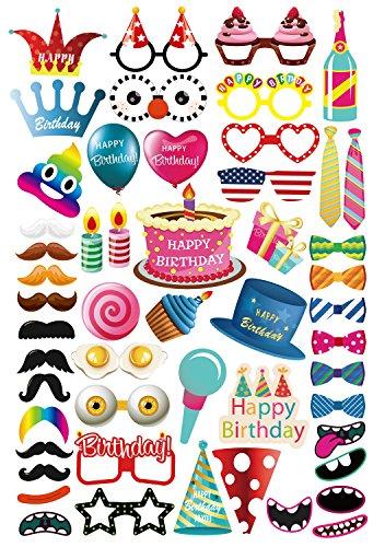 MotGlobal 52 Pièces Photo Booth Props Party Favors pour Fête d'anniversaire avec des Bâtons