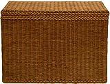 korb.outlet Wäschesortierer aus Echtem Rattan mit 3 Fächern/Wäschesammler, Wäschetruhe unterteilt (Vintage Braun)