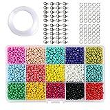 Seed Beads 9000 cuentas de vidrio con una caja organizadora y 1 rollo de cuerda elástica de cristal para abalorios, pulseras, costura, llaveros y bisutería para niños