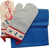 Küchenset 2 Ofenhandschuhe Maritim Rot Blau Nautica und 2 Frottee Küchenhandtücher 30x50 Blau