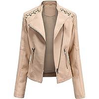 YYNUDA Women's Stylish Faux Leather Jacket Zip Up Moto Biker Classic Short Jacket Coat