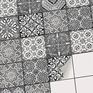 creatisto Mosaikfliesen Folie Fliesensticker u. Fliesenaufkleber | Klebefolie Fliesen Aufkleber Folie Sticker für Küche u. Bad-Fliesen Wanddeko | 10x10 cm - Motiv Black n White - 9 Stück