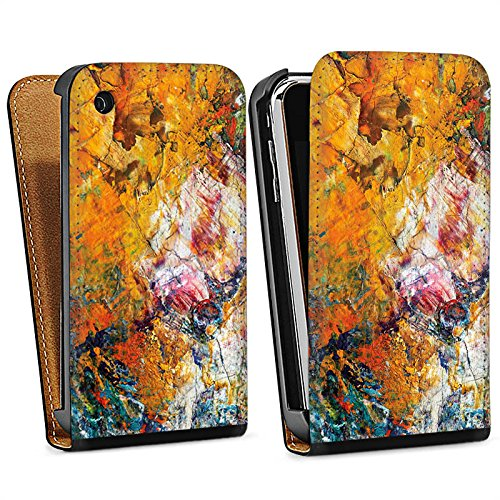 Apple iPhone 6 Housse Étui Protection Coque Peinture à l'huile Peinture Motif Sac Downflip noir