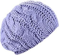 Rrimin Fashion Winter Beanie Knitted Wool Elastic Casual Cute Warm Beret Cap Hats