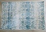 Tappeto Cefalù 120X80 Azzurro Grigio Beige Celeste Design Moderno Poliestere anallergico lucido-effetto seta (gali carpet)