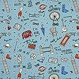 Fabulous Fabrics Baumwollstoff Cretonne London - blaugrau -