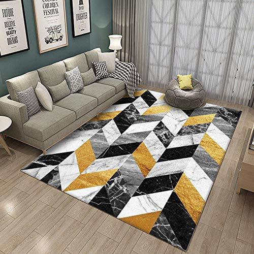Thole Home Designer Teppich Geometrische Muster Decor Schlafzimmer Couchtisch Wohnzimmer Kristall Samt Super Weich Teppich Esszimmer Decke Waschbar Kinder Spielteppich,Yellow,120x160cm -