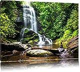 Wunderschöner tropischer Wasserfall Format: 100x70 auf Leinwand, XXL riesige Bilder fertig gerahmt mit Keilrahmen, Kunstdruck auf Wandbild mit Rahmen, günstiger als Gemälde oder Ölbild, kein Poster oder Plakat