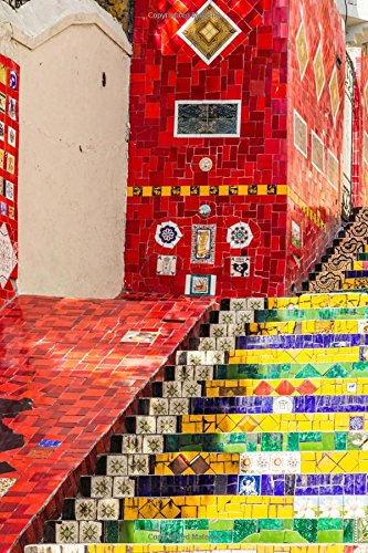 Selaron Steps in Rio De Janeiro Brazil Art Journal: 150 Page Lined Notebook/Diary
