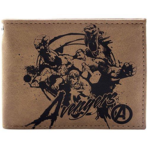 Marvel Avengers Retro Stift Design Hulk Thor Braun Portemonnaie Geldbörse