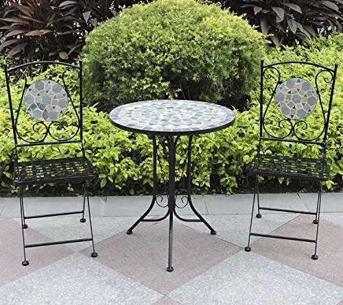Woodside Mosaic Garden Table And Folding Chair Set Outdoor Dining Furniture