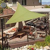 OldPAPA Sun Shade Sail Waterproof Triangle Sun Shade UV Block Sunscreen Awning Garden Beach Patio Canopy 3x3x3m, ArmyGreen