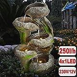 Amur GARTENBRUNNEN BRUNNEN 230V ZIERBRUNNEN VOGELBAD Wasserfall GARTENLEUCHTE TEICHPUMPE - SPRINGBRUNNEN WASSERSPIEL für Garten, Gartenteich, Terrasse, Teich (BAUMSTUMPF & STEINSCHALEN mit LED-Licht)