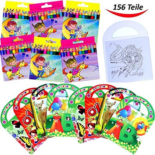 German Trendseller® - Kinder Mal - SET - 156 Teilig ┃ ★★★ 12 Malbücher & 144 Buntstift...