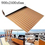 Toogou - Tappeto antiscivolo con retro adesivo, copertura in legno teak sintetico per barche e kayak, in schiuma EVA, Brown with White stripes