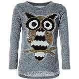 BEZLIT Mädchen Pullover Pulli Wende-Pailletten Sweatshirt Vogel Motiv 21601 Grau Größe 128