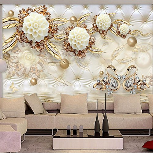 Foto de Lqwx Mural fotográfico Wallpaper 3d Oro Lujo Flor Blanca Soft Bag Ball Joyería Salón de pared de fondo papel tapiz-400cmX280cm