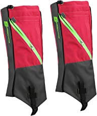 Generic 1 Pair Waterproof Snow Legging Boot Gaiters Leg Covers Rugged Outdoor Walking Hiking Climbing - Red Grey