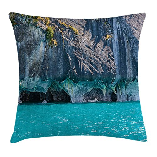 FAFANI Turquoise Throw Pillow Cushion Cover, Marble Caves of Lake General Carrera Chile South American Natural, Decorative Square Accent Pillow Case, 18 X 18 Inches, Turquoise Purplegrey Green
