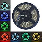 Surom 16.4ft 5m Waterproof 150 LED Lights Strip,12V Waterproof Flexible 300 Color Changing RGB Ribbon Flexible LED Light Strip