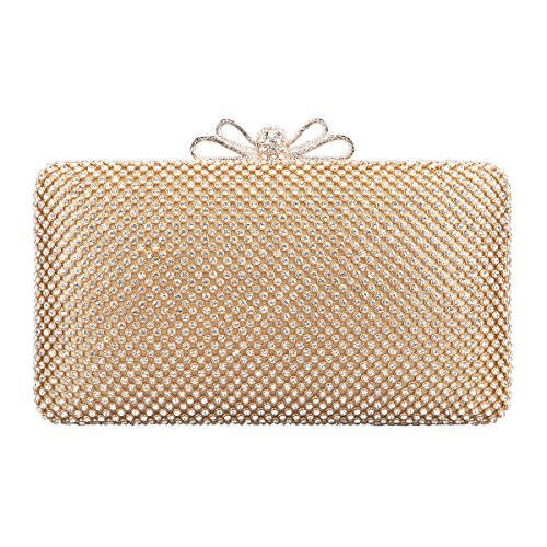 Bonjanvye Bow Clutch Bag with Crystal Rhinestone Purse for Evening Party Gold (Prada Bow)