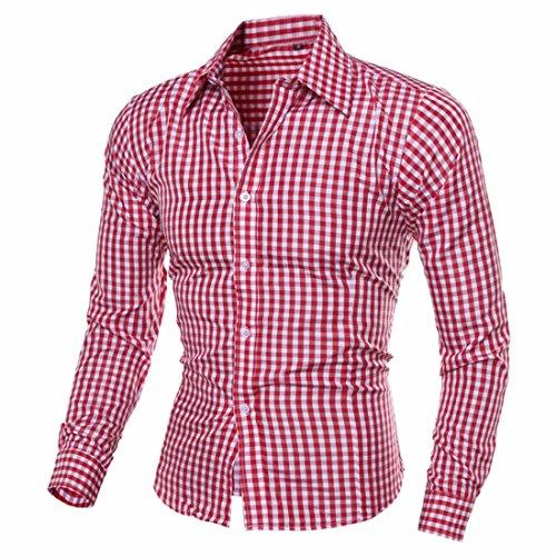 QIYUN.Z Männer Schlanke Passform Revers Shirts Lange Ärmel Plaid Button Unten Kleid Hemden Rot