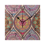 XiangHeFu Horloge Murale carrée 20,3 x 20,3 cm Silencieux Vintage Bohème Indien Turc Floral Strass Mandala Décoratif pour la Maison, Le Bureau, l'école