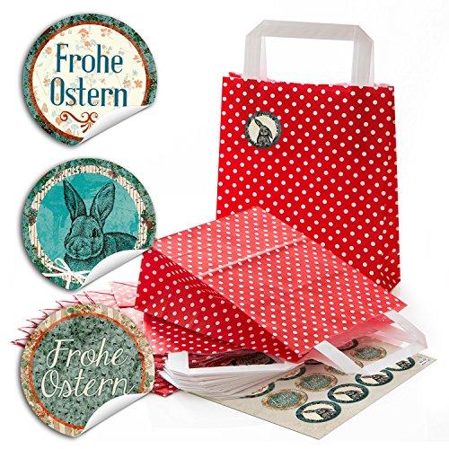 ltaschen mit weißen Punkten und Boden (18 x 8 x 22 cm) kleine Papiertaschen und 24 grün, braun, beige, rote, runde Aufkleber 4 cm