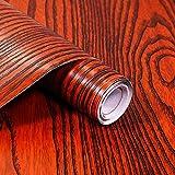 Selbstklebende Möbelfolie mit 3D Holz-Optik in Rot – Dekorieren Sie Möbel, Wände, Küche und Wohnzimmer, FANCY-FIX (40x300cm)