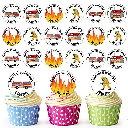 Vorgeschnittener Personalisierter Feuerwehrmann Mix - Essbare Cupcake Topper / Kuchendekorationen (24 Stück)