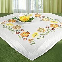 Juego de bordado FLORES DE VERANO / Juego completo de mantel previamente dibujado para el bordado en punto de cruz / Kit de bordado de flores