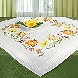 Stickpackung BLUMENWIESE, komplettes Vorgezeichnetes Tischdecken Set zum Sticken, Blumen Stickset mit Stickvorlage für Erwachsene, Sticken im Kreuzstich