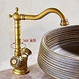 Gyps Faucet Waschtisch-Einhebelmischer Waschtischarmatur BadarmaturTippen Sie auf die Kupfer Doppel Waschtisch Armatur Waschtisch Armatur Bad Prüfen Kunst Antik Kupfer Kalt Wasserhähne Einen rotie
