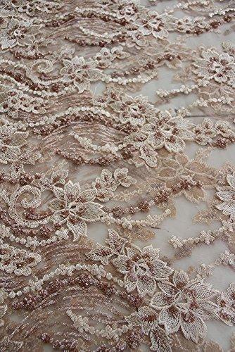 J3208floreale da sposa/abito da sposa in pizzo ricamato con paillettes fiore tessuto scallop trim applique 140larghezza rose-oro 0.5 yard silver