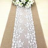 PsmGoods® Rustic Burlap Lace Hessischen Tischläufer Natürliche Jute für Hochzeits-Festival Ereignis Tischdekoration 12x108