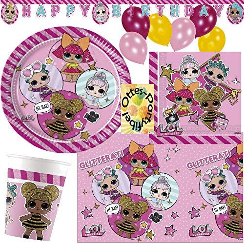 HHO LOL L.O.L. Glitterati Party-Set 48tlg. für 8 Gäste Teller Papp-Becher Servietten Tischdecke Wimpelkette Luftballons (Dekoration Für Geburtstagsparty Eine)
