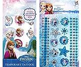 Disney Frozen, Eiskönigin Sticker Tattoo Set, 1 Bogen Haut Tattoos mit 12 Motiven + 1 Bogen mit Glitzersticker aus insgesamt 119 Glitzersteinen, 10 Ornament und 6 Bordüren - super für Tagebuch, Scrapbooking, als Mitgebsel für Partytüten, Schultüte, Adventskalender