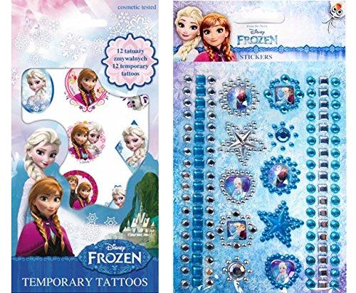 Disney Frozen, Eiskönigin Sticker Tattoo Set, 1 Bogen Haut Tattoos mit 12 Motiven + 1 Bogen mit Glitzersticker aus insgesamt 119 Glitzersteinen, 10 Ornament und 6 Bordüren - super für ()