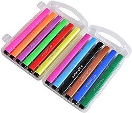mirito Pennarello Fusto Triangolare - Set Scrivania con 12 Colori Assortiti Set di pennelli per pittura ad acquerello