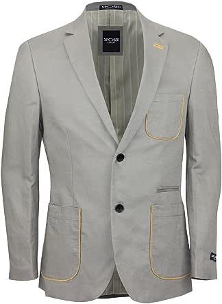 Xposed Mens Beige Unstructured Linen Blend Slim Fit Formal Blazer Smart Casual Designer Coat Jacket